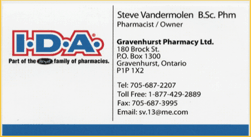 Business card, a sponsor, Gravenhurst IDA
