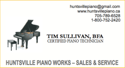 Business card, a sponsor, Huntsville Piano Works