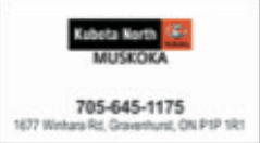 Business card, a sponsor, Kubota North Muskoka