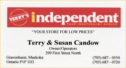 Business card, a sponsor, Terry's Independent
