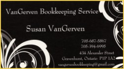 Business card, a sponsor, Vangerven Bookkeeping